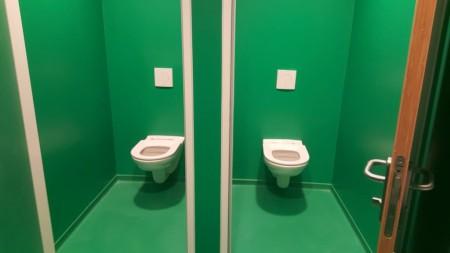 Kunststof vloer van de sanitaire ruimte van FC Groningen
